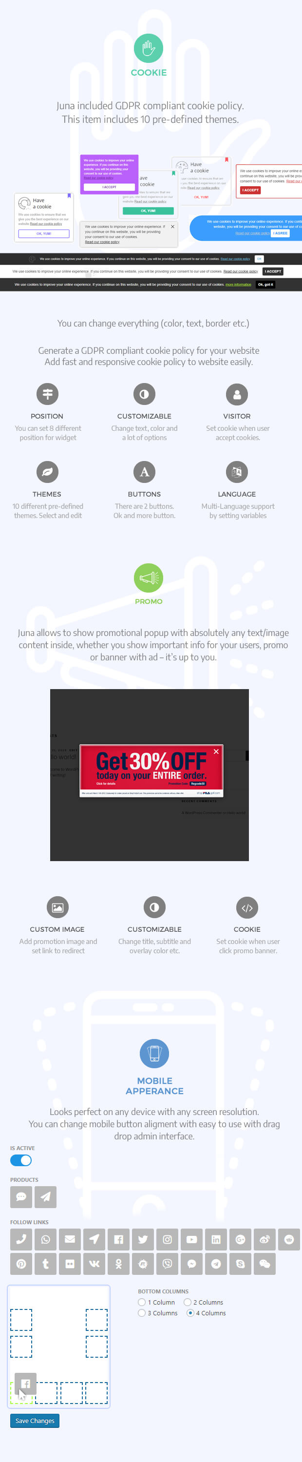 Juna Ultimate All-in-One, Feedback, Follow, Contact Form, Cookie, Promo Banner  Wordpress Kit - 2